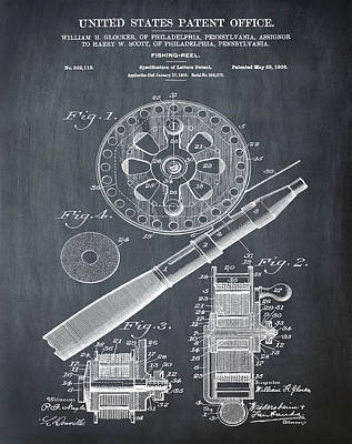 Sepia Chalk Drawing - Fishing Reel Patent 1906 Chalk by Bill Cannon