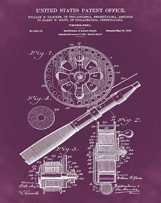 Sepia Chalk Drawing - Fishing Reel Patent 1906 Red by Bill Cannon