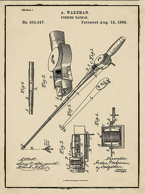1884 Digital Art - Fishing Tackle Patent Circa 1884 In Sepia by Digital Reproductions
