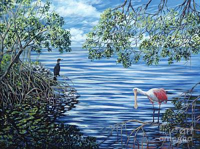 Spoonbill Painting - Fishing The Mangroves by Danielle  Perry