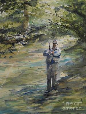 Fishing The Sturgeon Print by Sandra Strohschein