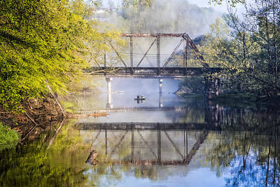 Fishing Under The Trestle Print by Debra and Dave Vanderlaan