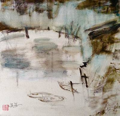 The Verve Painting - fishing village in China by J j Jin