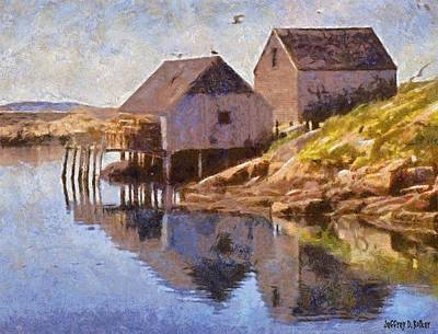 Seagull Painting - Fishing Wharf by Jeff Kolker