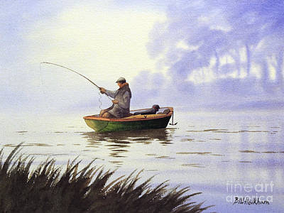 Fishing With A Loyal Friend Print by Bill Holkham