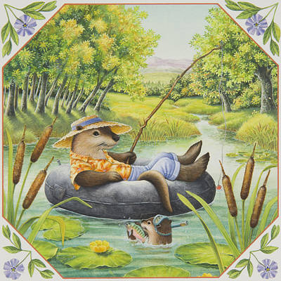 Otter Painting - Fishing With Dad by Lynn Bywaters
