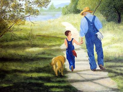 Granddaddy Painting - Fishing With Granddaddy by Jessie Lofland