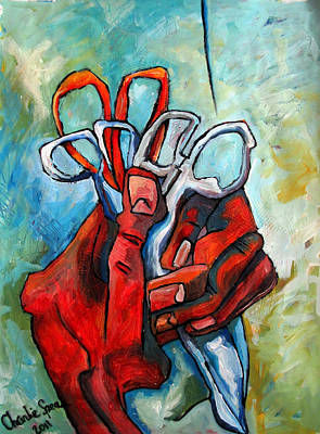 High Key Painting - Fistful Of Scissors by Charlie Spear