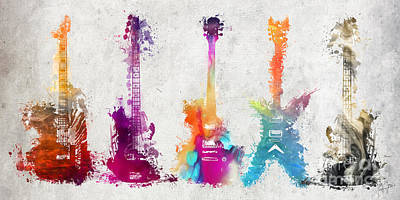 Music Digital Art - Five Colored Guitars by Justyna JBJart