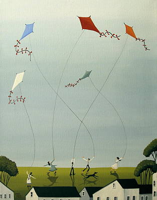 Kids Flying Kite Painting - Five Kites Flying by Debbie Criswell