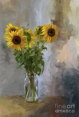 Sunflowers Digital Art - Five Sunflowers by Lois Bryan