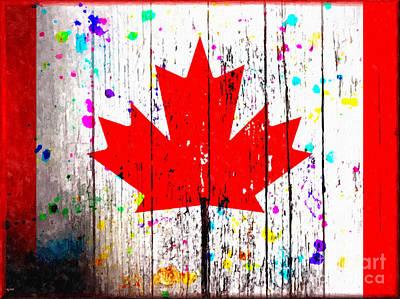 Toronto Maple Leafs Mixed Media - Flag Of Canada Grunge by Daniel Janda