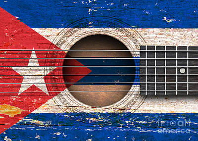 Jeff Digital Art - Flag Of Cuba On An Old Vintage Acoustic Guitar by Jeff Bartels