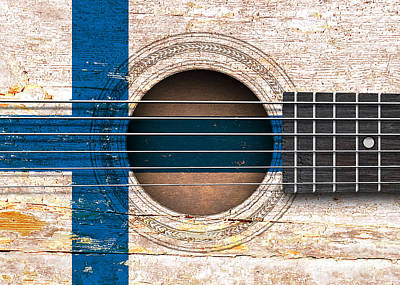 Jeff Digital Art - Flag Of Finland On An Old Vintage Acoustic Guitar by Jeff Bartels