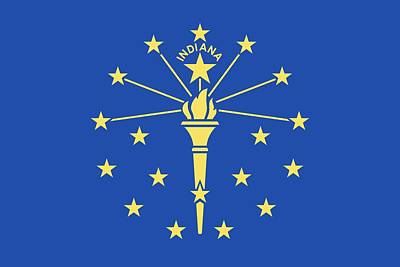 Flag Of Indiana Print by American School