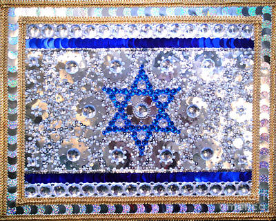 Bead Embroidery Painting - Flag Of Israel. Bead Embroidery With Crystals by Sofia Goldberg