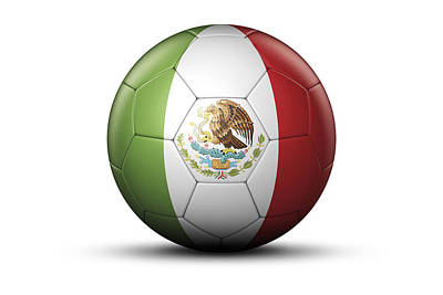 Flag Of Mexico On Soccer Ball Print by Bjorn Holland