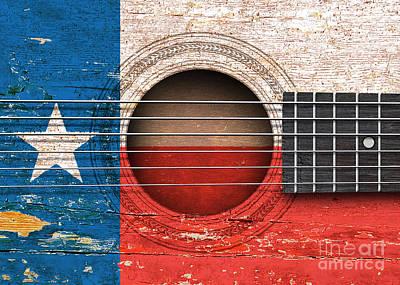 Acoustic Guitar Digital Art - Flag Of Texas On An Old Vintage Acoustic Guitar by Jeff Bartels