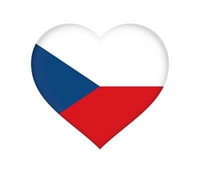 Flag Of The Czech Republic Heart Print by Roy Pedersen