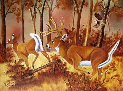 Flagging Deer Original by Debbie LaFrance