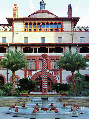 Historical Photograph - Flagler College Courtyard Fountain by D Hackett