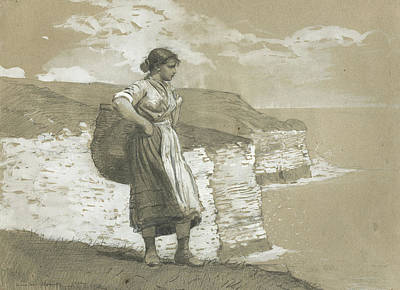 Single Figure Study Painting - Flamborough Head, England by Winslow Homer