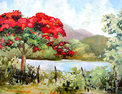 Flamboyan Tree Painting - Flamboyan By The Lake by Monica Linville
