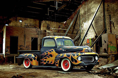 Photograph - Flamed Pickup by Steven Agius