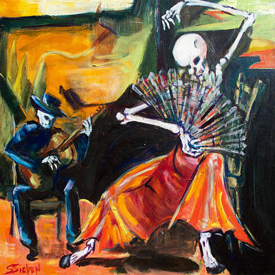 Calavera Painting - Flamenco Fan by Sharon Sieben