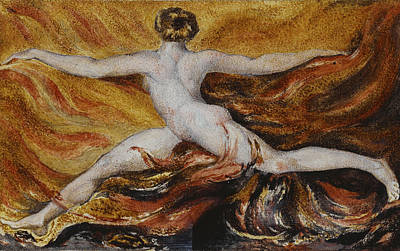 Flames Of Furious Desires Print by William Blake
