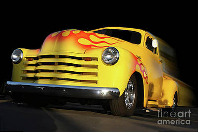 Flaming Chevy Print by Tom Griffithe
