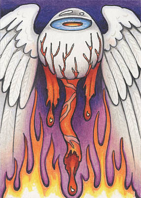Flaming Flying Eyeball Print by Amy S Turner