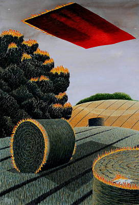 Cornfield Mixed Media - Flaming Magic Carpet Landscape Ride by Adrian Jones