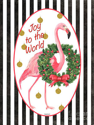 Christmas Greeting Painting - Flamingo Amore 2 by Debbie DeWitt