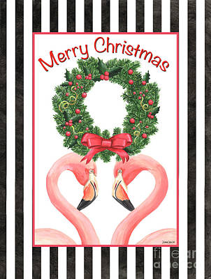 Christmas Greeting Painting - Flamingo Amore 3 by Debbie DeWitt