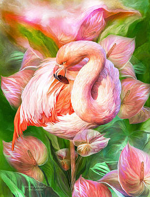 Flamingo Mixed Media - Flamingo And Flowers - Blooming In Paradise by Carol Cavalaris