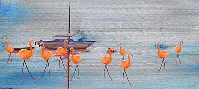 Watercolor Painting - Flamingo Bay On Wood by Ken Figurski