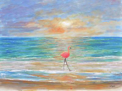 Fine Art Painting - Flamingo Beach by Ken Figurski