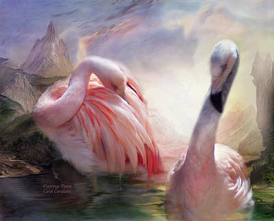 Flamingo Mixed Media - Flamingo Dawn by Carol Cavalaris