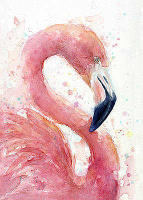 Flamingoes Painting - Flamingo - Facing Right by Olga Shvartsur