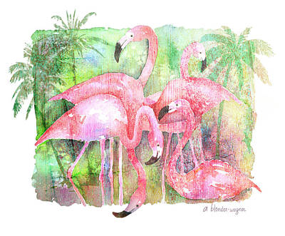 Flamingo Painting - Flamingo Five by Arline Wagner