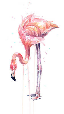 Flamingo Illustration Watercolor - Facing Left Print by Olga Shvartsur