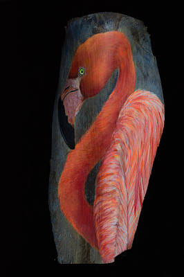 Greater Flamingo Painting - Flamingo On Palm Frond by Nancy Lauby