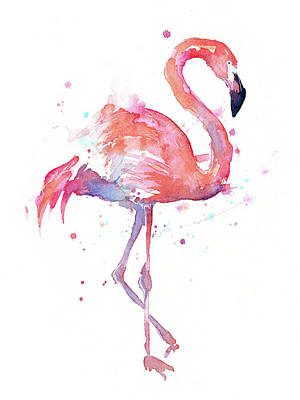 Abstract Birds Painting - Flamingo Watercolor Facing Right by Olga Shvartsur