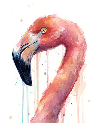 Flamingoes Painting - Flamingo Watercolor Illustration by Olga Shvartsur