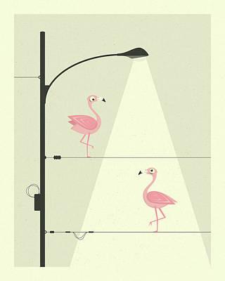 Flamingos Digital Art - Flamingos On A Wire by Jazzberry Blue