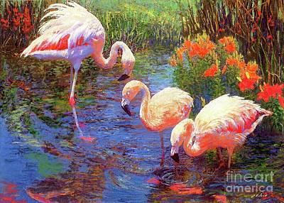 Wildlife Landscape Painting - Flamingos, Tangerine Dream by Jane Small