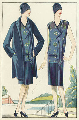 Fashion Design Drawing - Flappers In Frocks And Coats, 1928  by American School