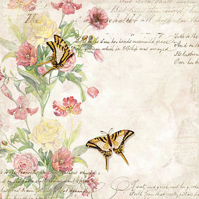 Aged Patina Painting - Fleurs De Pivoine - Watercolor W Butterflies In A French Vintage Wallpaper Style by Audrey Jeanne Roberts