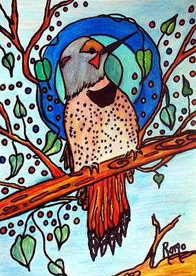 Woodpecker Mixed Media - Flicker by Robin Monroe
